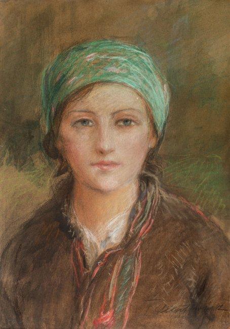 Teodor Axentowicz | Portrte dziewczyny w zielonej chustce