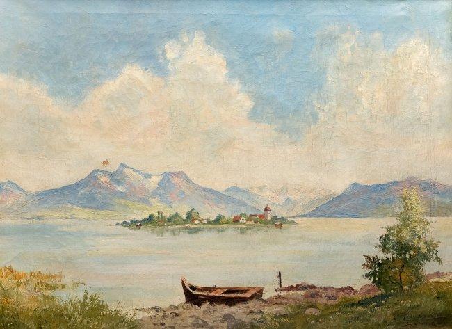 malarz nieokreślony | Pejzaż z łodzią