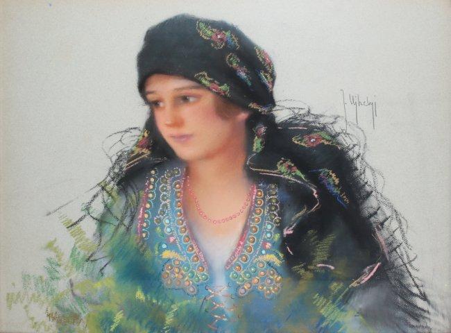 Józef Ujheli | Portret kobiety w stroju ludowym