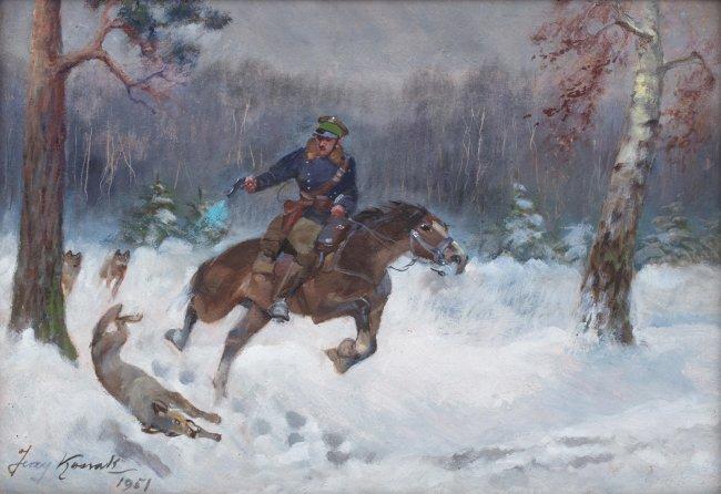 Jerzy Kossak   Ucieczka przed wilkami, 1951 r.