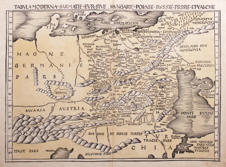 Klaudiusz Ptolemeusz | Tabula Moderna Sarmatie Eur sive Hungarie Polonie Russie Prussie et Valachie