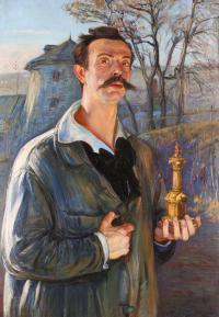 Autoportret z figurką Chrystusa