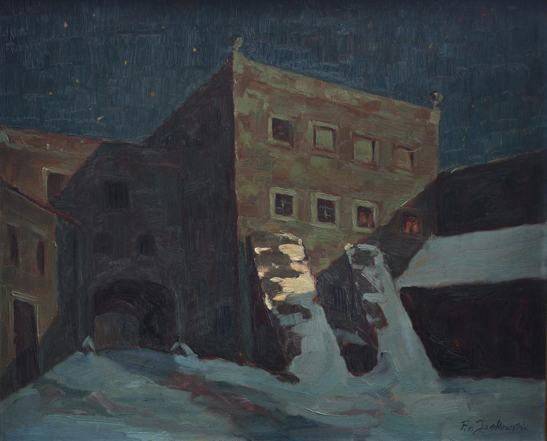 Gorzanów ? pałac zimową nocą, lata 1940?50.