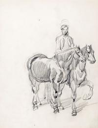 Studium koni z jeźdźcem, ok. 1835 r.