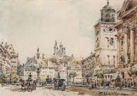 Widok na Plac Zamkowy od Krakowskiego Przedmieścia