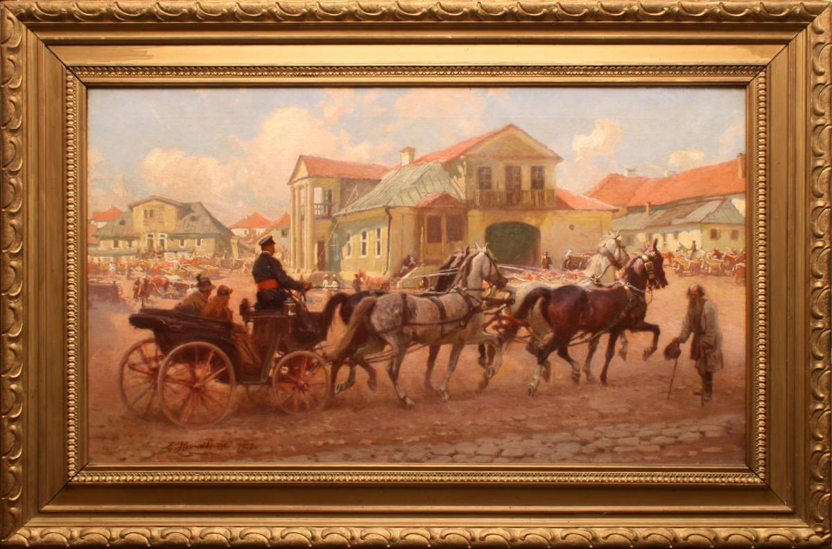 Przejazd przez miasto w dzień targowy, 1928 r. - 1