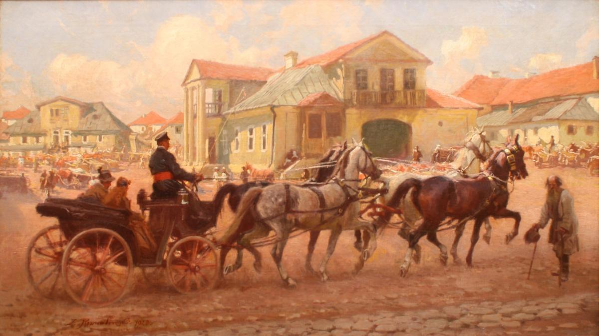Przejazd przez miasto w dzień targowy, 1928 r. - 2