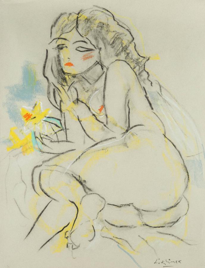 Akt z żółtym kwiatem, Adele - 1
