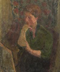 Portret kobiety podpartej na dłoni