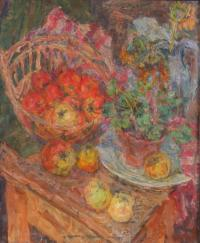 Martwa natura - kwiat w doniczce i owoce