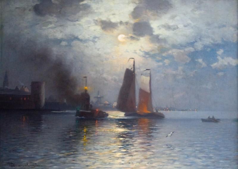 Księżycowa noc nad miastem portowym