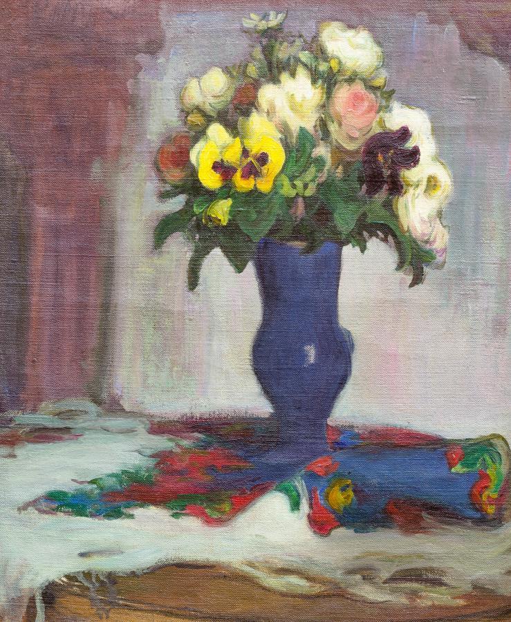 Kwiaty w niebieskim wazonie, lata 1906?1918