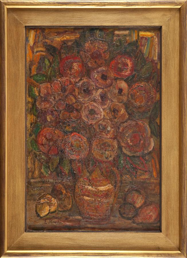 Kwiaty w glinianym dzbanku (Cynie), 1969 r.