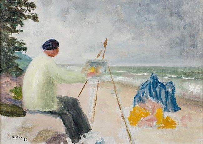 Wojciech Weiss malujący nad morzem, 1935 r.