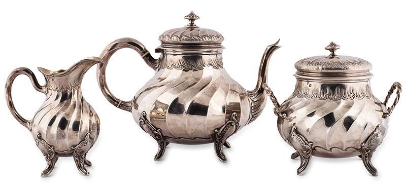 Komplet sreber, dzbanek, mlecznik, cukiernica, Paryż, Léon Champenois, ok. 1890 r.