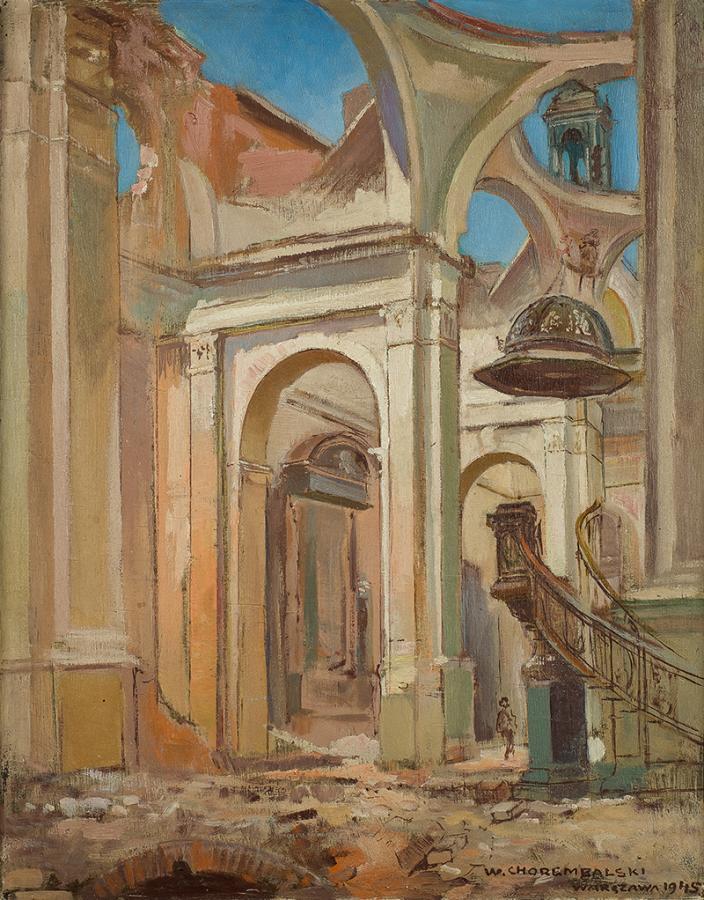 Wnętrze kościoła Wszystkich Świętych przy pl.Grzybowskim  tuż po wojnie, 1945 r