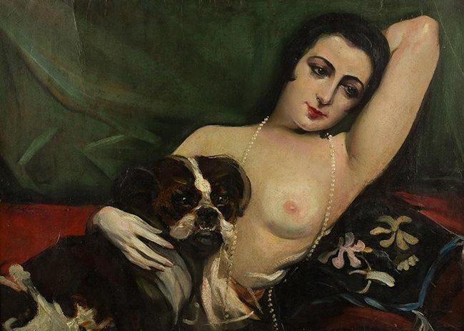 Akt kobiecy z pieskiem