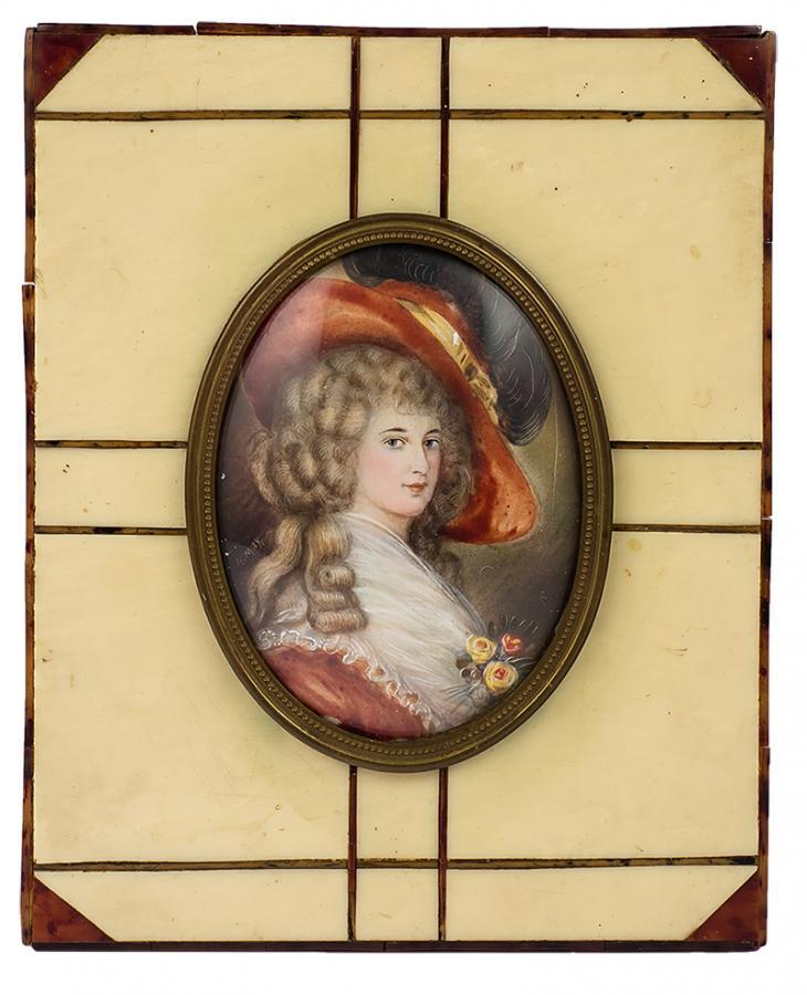 Miniatura - Contessa de Dillieos, k. XIX w.