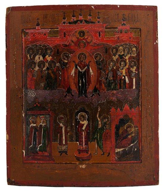 Ikona- Pokrow Matki Boskiej, Rosja, XIX w,