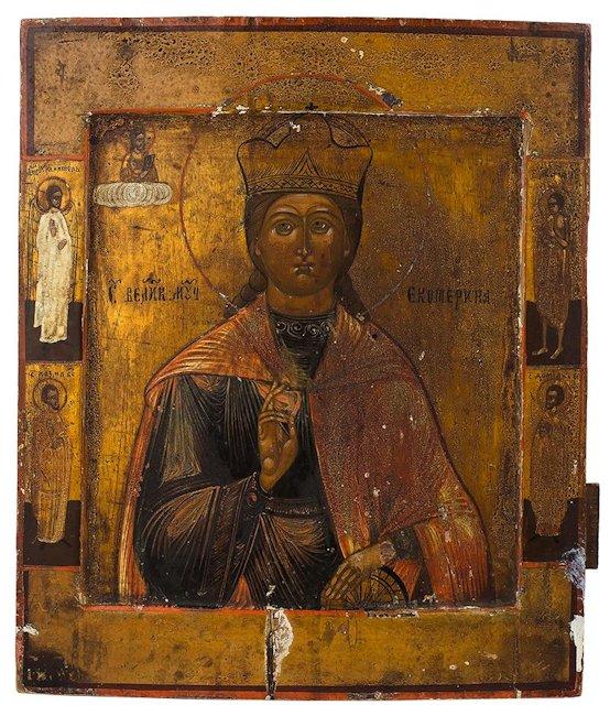 Ikona - Św. Katarzyna Aleksandryjska, 2 poł XIX w.