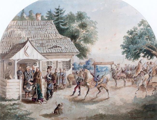 Józef Brandt | Wyjazd młodego Paska na wojnę,  1856 r.