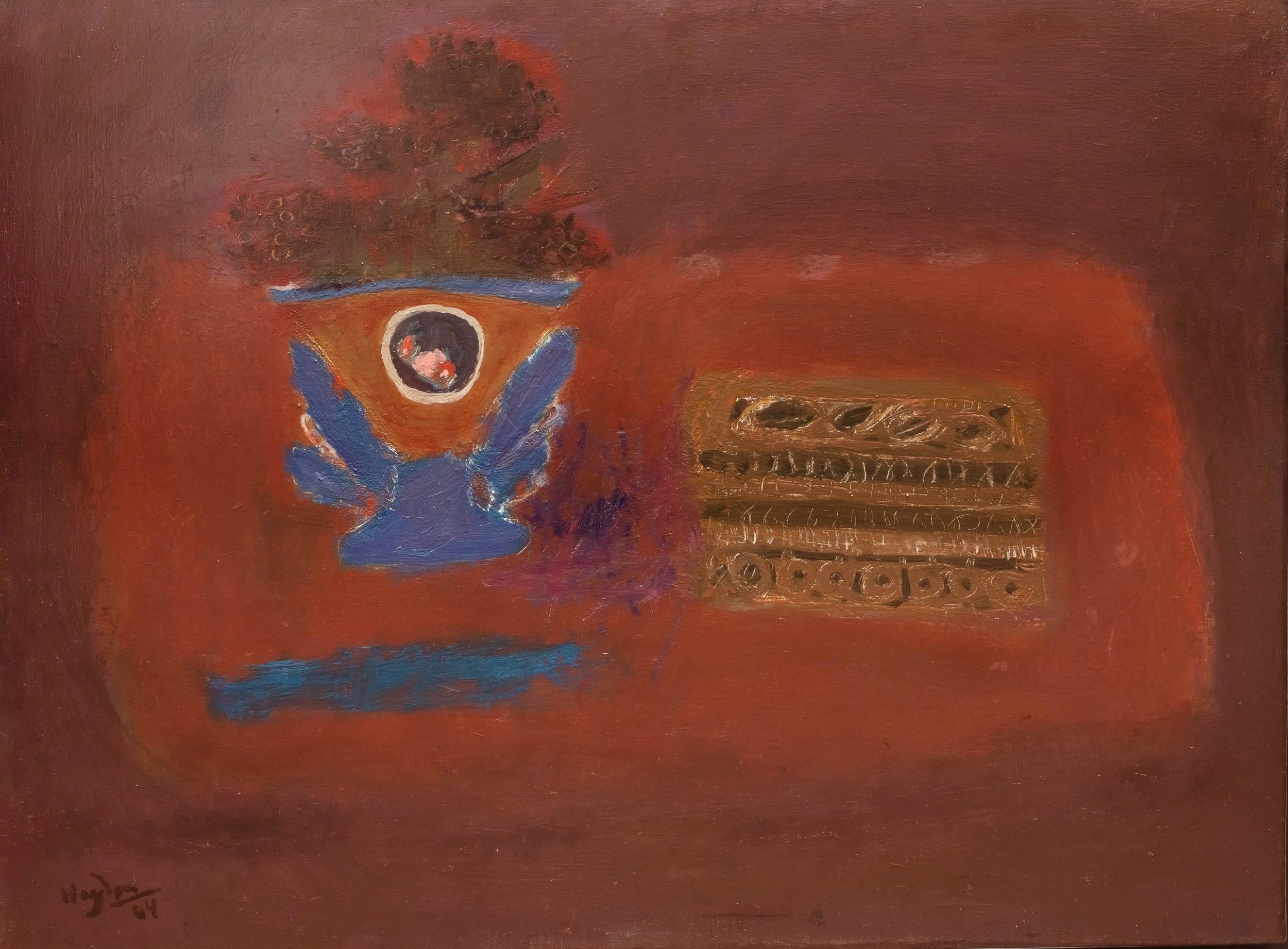 Henryk Hayden   Martwa natura z niebieskim wazonem i pudełkiem krawieckim, 1964 r.