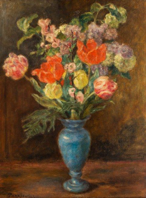 Józef Pankiewicz | Bukiet kwiatów w niebieskim wazonie