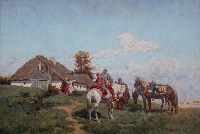 Władysław Karol Szerner | Jeźdźcy przed chatą