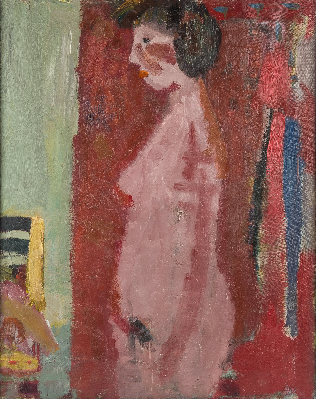 Artur Nacht-Samborski | Akt stojący kobiety na czerwonym tle, ok. 1960