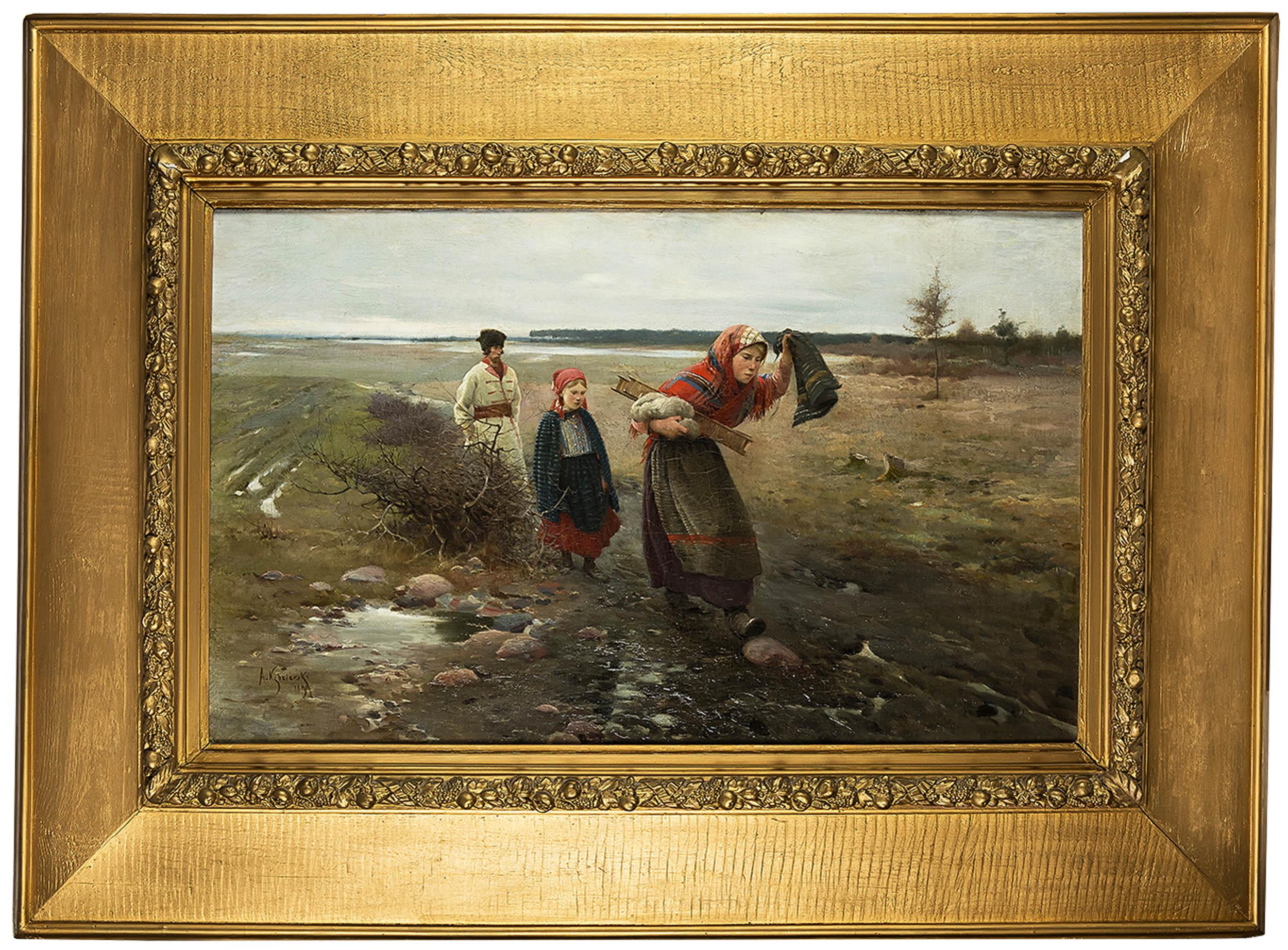 Apoloniusz Kędzierski | Na błotnistej drodze, 1890 r.