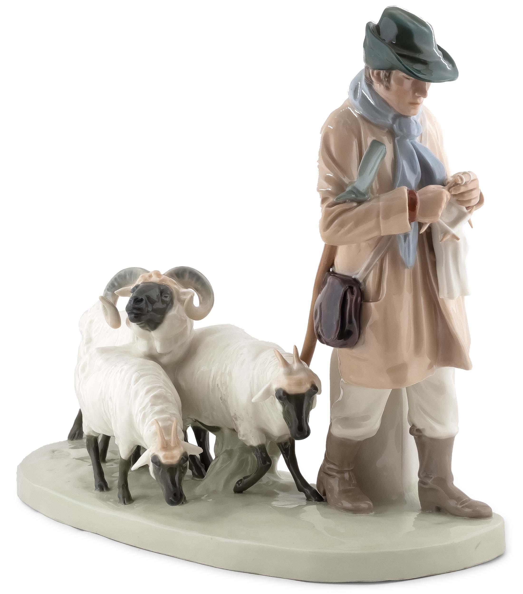 Pasterz z owieczkami, Miśnia, lata 1924 - 1934, Projekt z 1908 r. - Otto Pilz, (1876 - 1934)