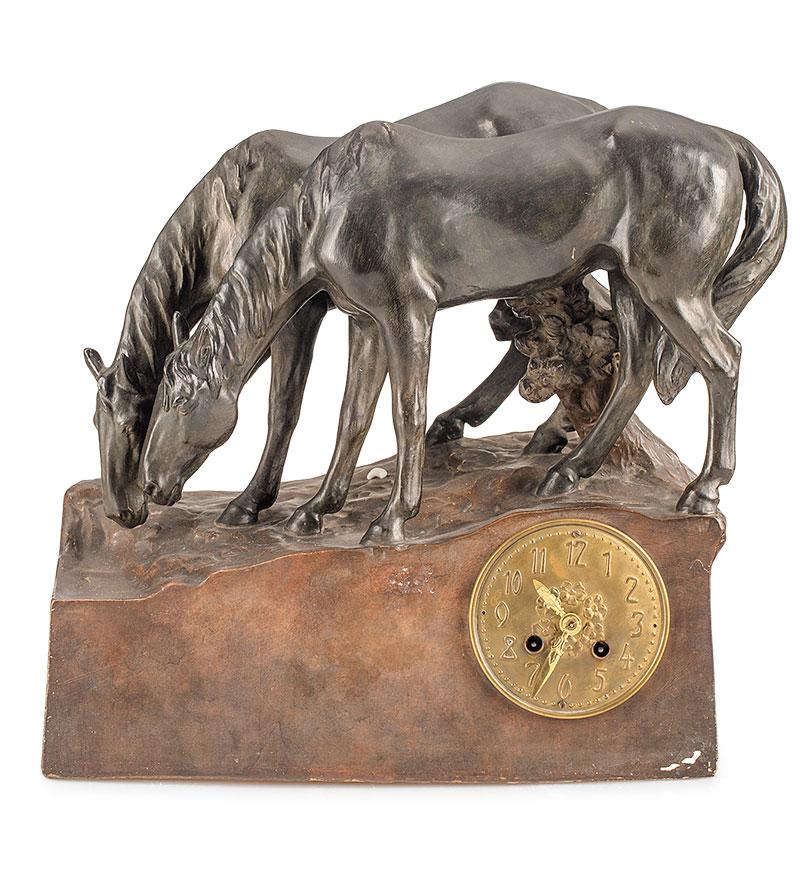 Zegar kominkowy z figurami koni,  Friedrich Goldscheider