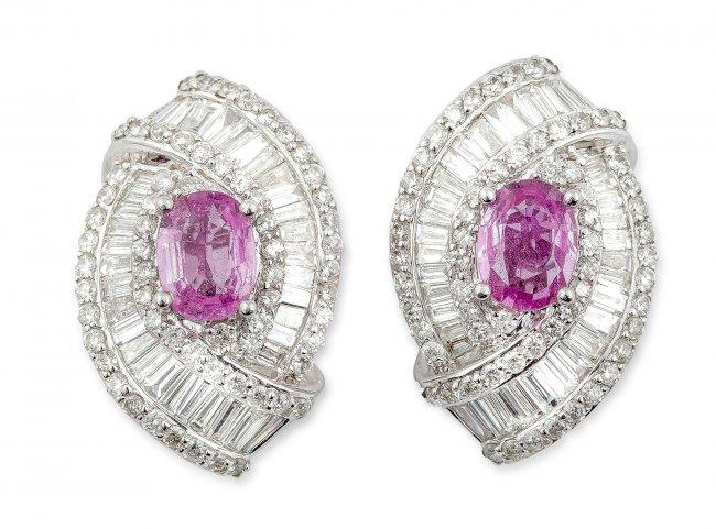 Kolczyki/klipsy z diamentami i różowymi szafirami, współczesne