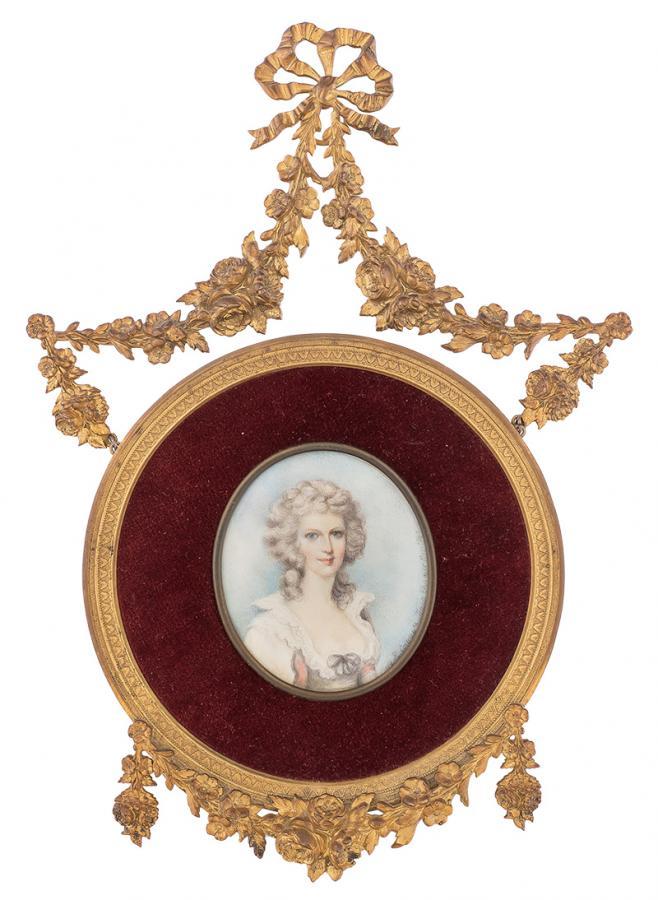 Miniatura w ramce z girlandą kwiatową -  Portret damy, 1983 r.
