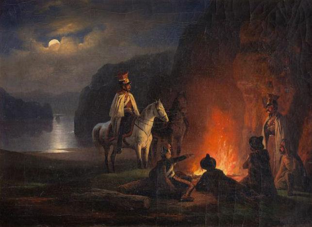 January Suchodolski | Biwak. Żołnierze przy ognisku, około 1850